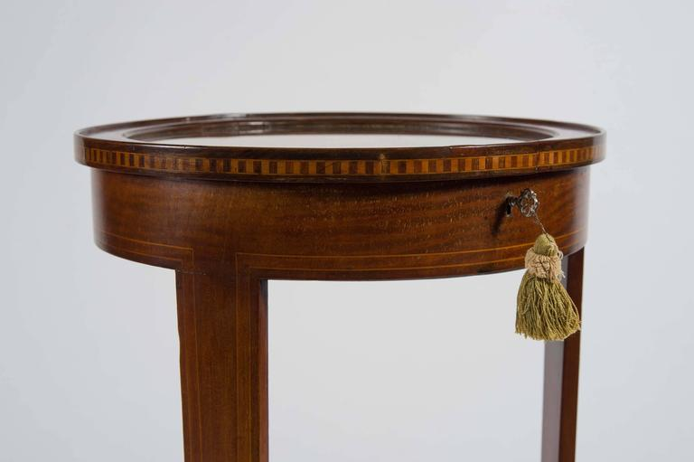 Early 20th Century Edwardian Mahogany Circular Bijouterie Table with Gold Velvet For Sale 2