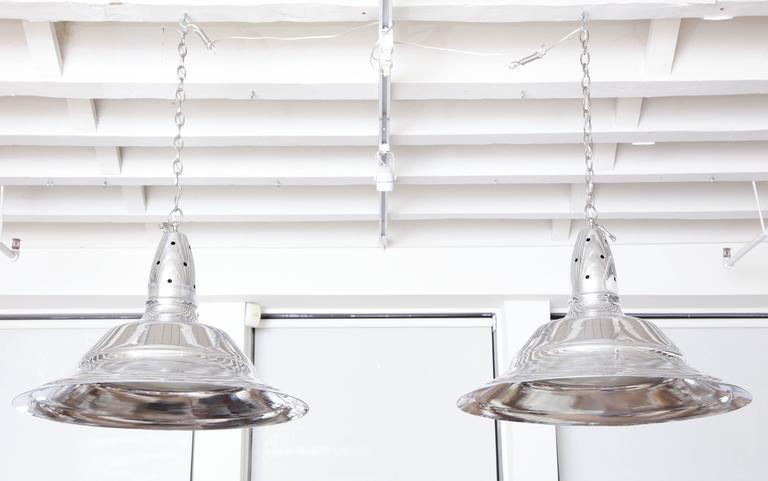 Set of Three Wide Rim Aluminum Pendant Light Fixtures