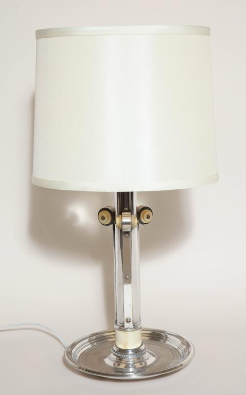 20th Century Boin-Taburet French Art Deco Silver Plated and Bone Lamp For Sale