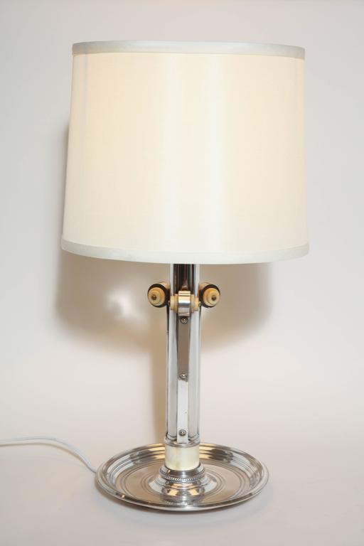 Boin-Taburet French Art Deco Silver Plated and Bone Lamp For Sale 1