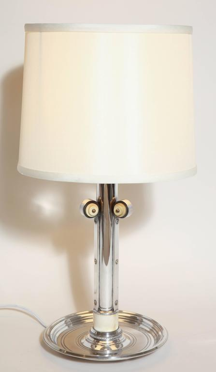 Boin-Taburet French Art Deco Silver Plated and Bone Lamp For Sale 5