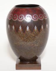 Claudius Linossier French Art Deco Copper & Silver Dinanderie Vase