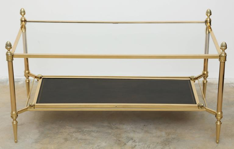 Mid-Century Double Tray Coffee Table by Maison Jansen, Bronze, Glass and Leather 2