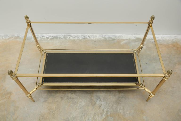 Mid-Century Double Tray Coffee Table by Maison Jansen, Bronze, Glass and Leather 3