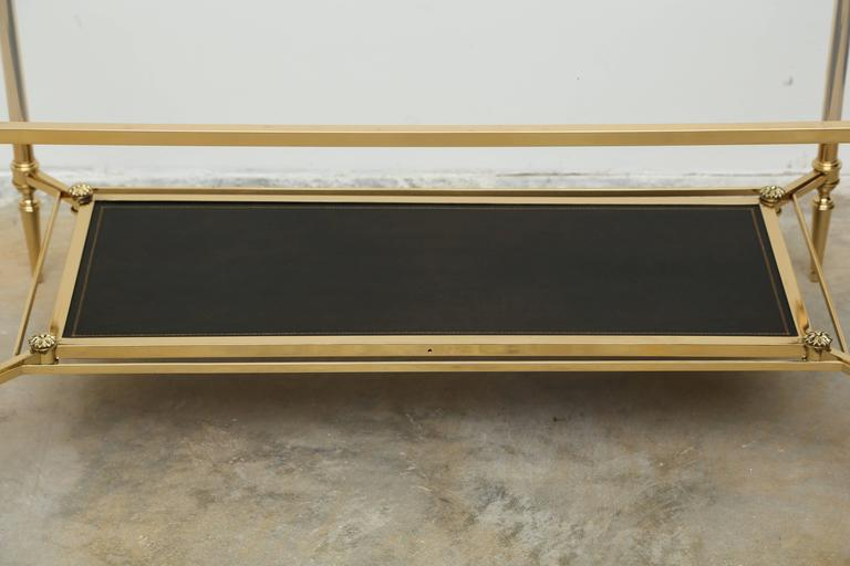 Mid-Century Double Tray Coffee Table by Maison Jansen, Bronze, Glass and Leather 4
