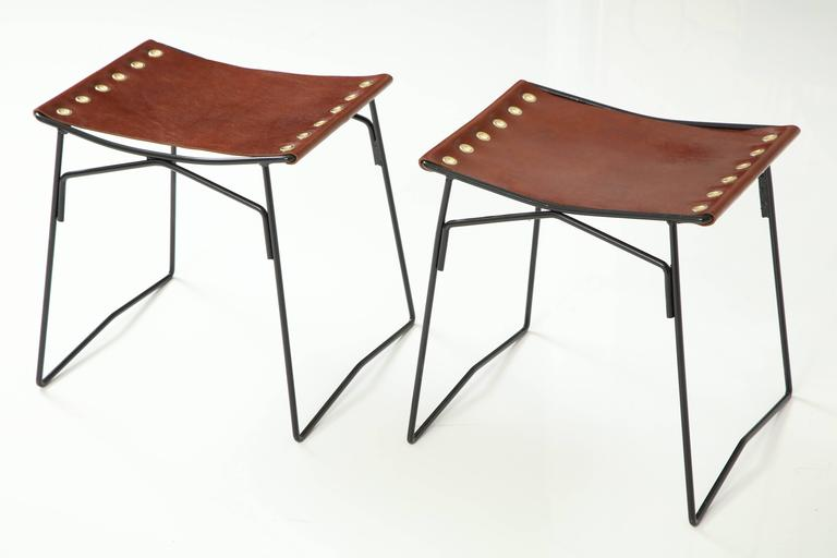 Pair of Leather Stools with Riveted Slings 2
