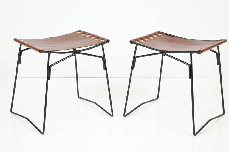 Pair of Leather Stools with Riveted Slings 3
