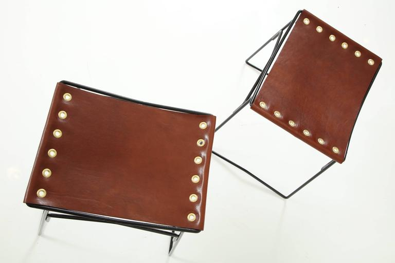 Pair of Leather Stools with Riveted Slings 4