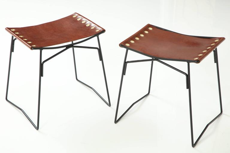 Pair of Leather Stools with Riveted Slings 6