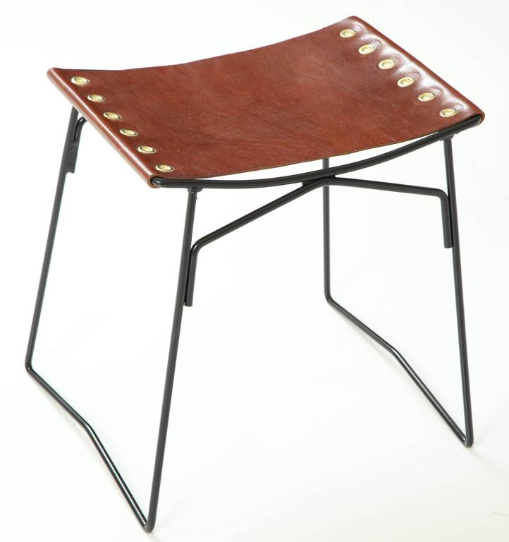 Pair of Leather Stools with Riveted Slings 7