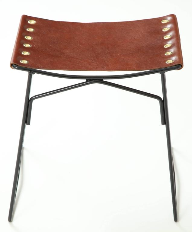 Pair of Leather Stools with Riveted Slings 8
