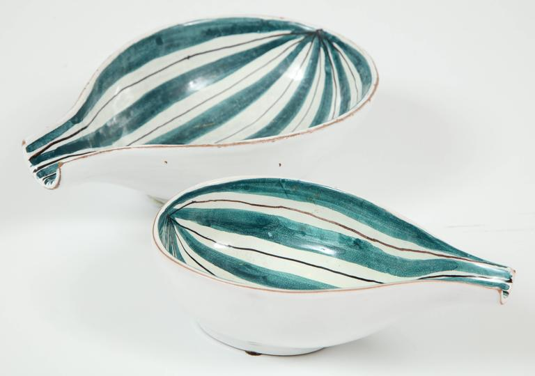 Italian Raymor Ceramic Bowls, Pair For Sale