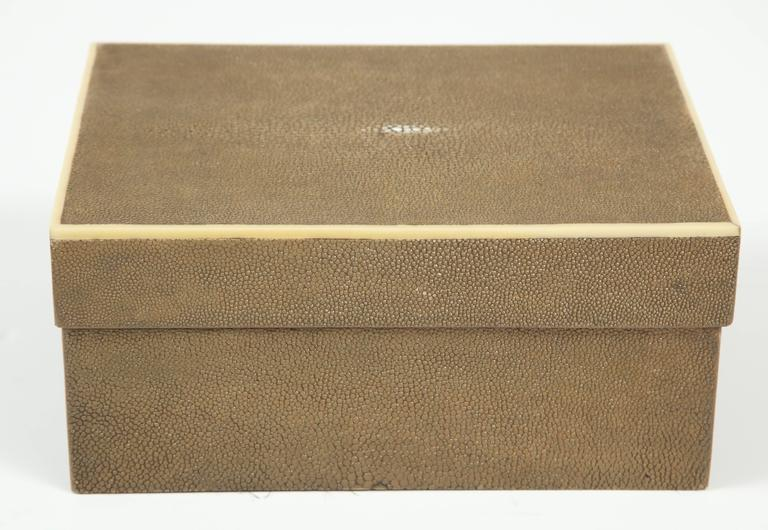 Modern Shagreen Box with Decorative Inlay, Coco Color, in Stock For Sale
