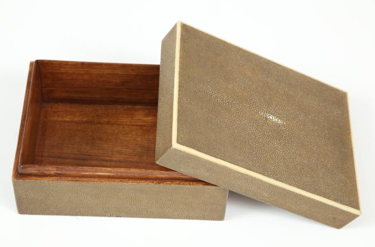 Hand-Crafted Shagreen Box with Decorative Inlay, Coco Color, in Stock For Sale