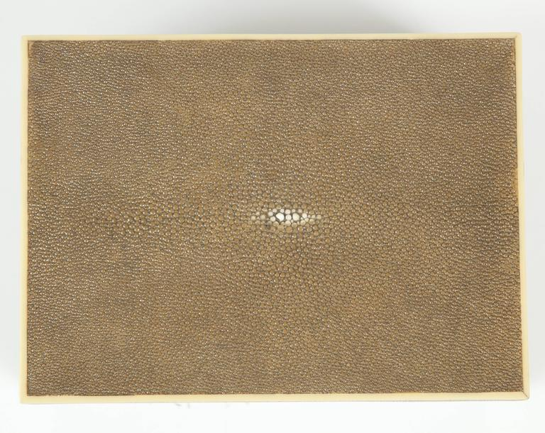Shagreen Box with Decorative Inlay, Coco Color, in Stock In New Condition For Sale In New York, NY