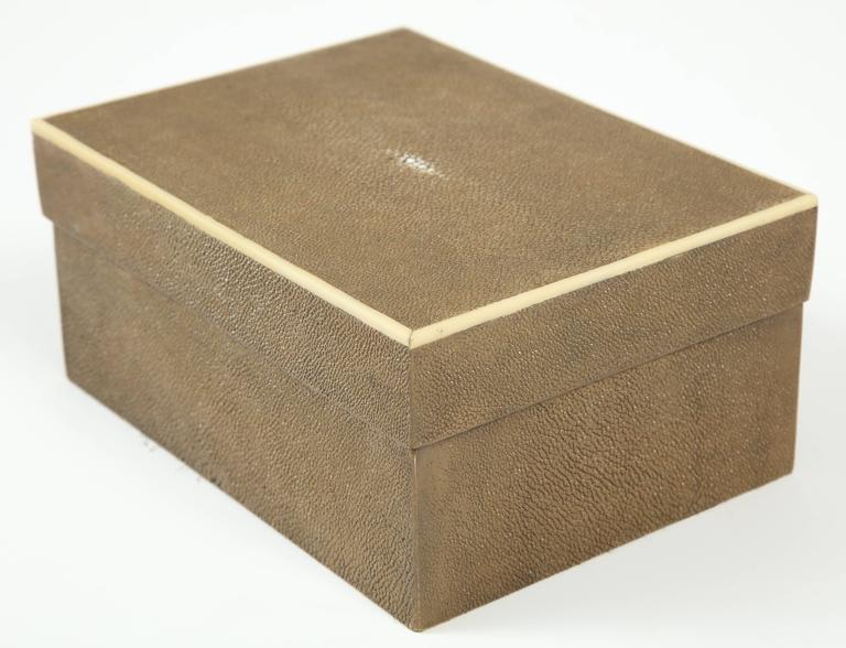 Contemporary Shagreen Box with Decorative Inlay, Coco Color, in Stock For Sale
