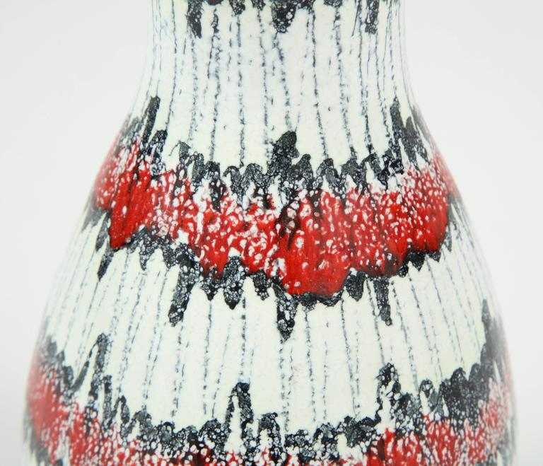 Mid-20th Century Ceramic Pitcher, Italy, Midcentury, Red, White and Black, circa 1950, Vintage For Sale