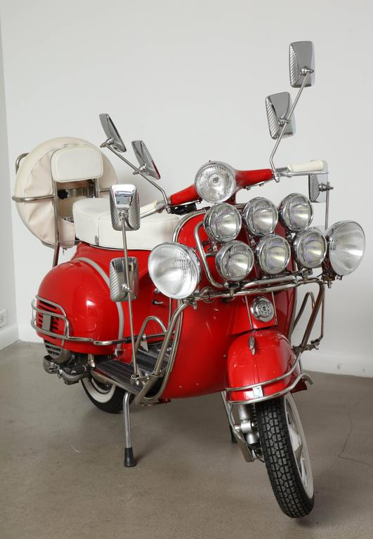 "Fully Restored 1963 Red with White Leather Italian, Piaggio ""Mod"" Vespa 2"