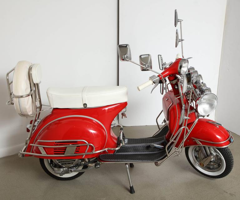 "Fully Restored 1963 Red with White Leather Italian, Piaggio ""Mod"" Vespa 3"