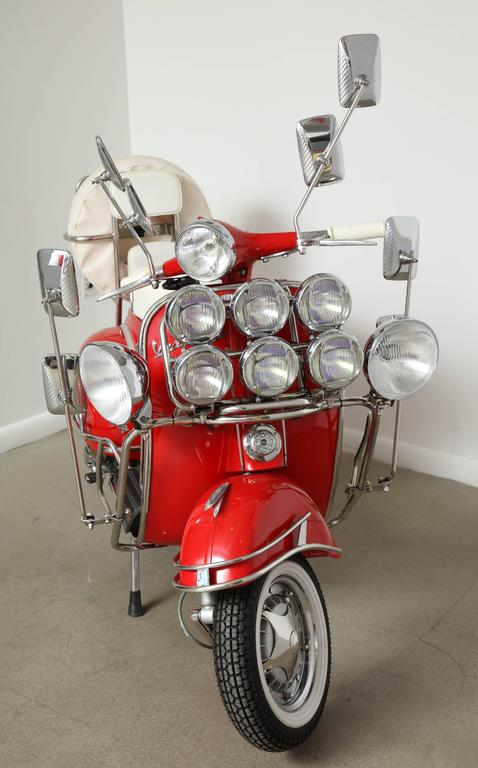 "Fully Restored 1963 Red with White Leather Italian, Piaggio ""Mod"" Vespa 7"