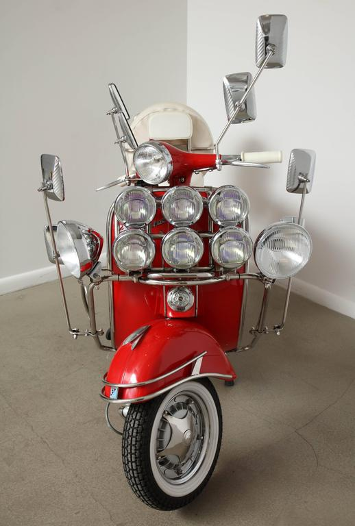 "Fully Restored 1963 Red with White Leather Italian, Piaggio ""Mod"" Vespa 8"