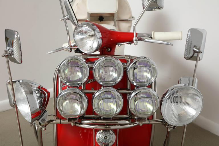 "Fully Restored 1963 Red with White Leather Italian, Piaggio ""Mod"" Vespa 9"