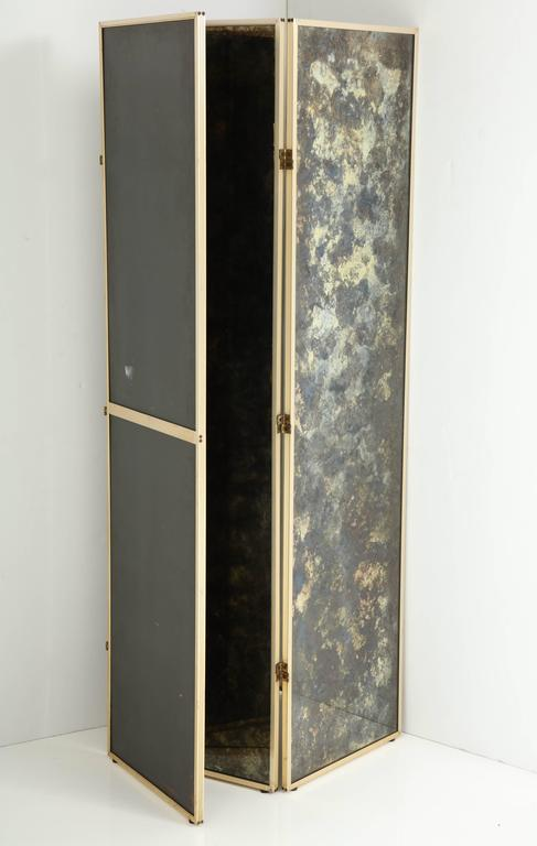 Fabulous 1940s Three-Panel Antiqued Mirror Folding Screen after Frances Elkins For Sale 3