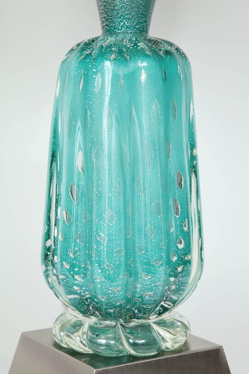 Italian Barovier Turquoise Murano Glass Lamps For Sale