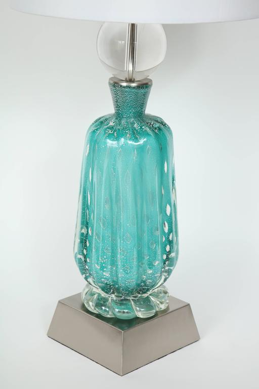20th Century Barovier Turquoise Murano Glass Lamps For Sale