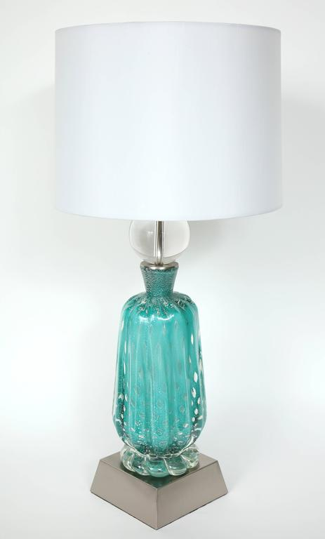 Barovier Turquoise Murano Glass Lamps For Sale 1