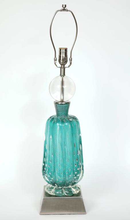 Barovier Turquoise Murano Glass Lamps For Sale 3