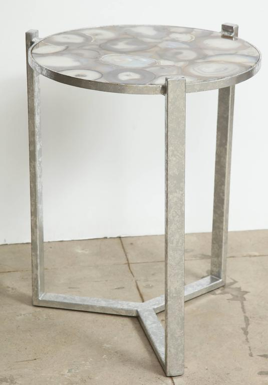 Geode Agate Slice Top Side Table At 1stdibs