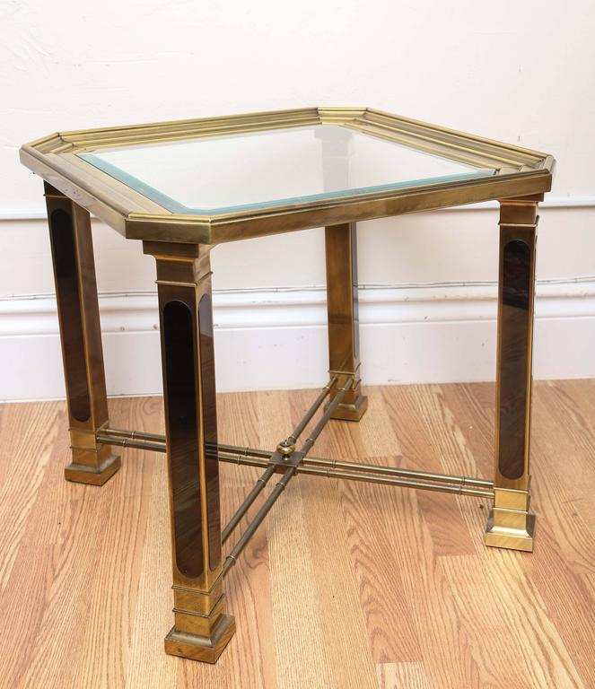 Mid-Century Modern style brass and glass side table by Mastercraft.