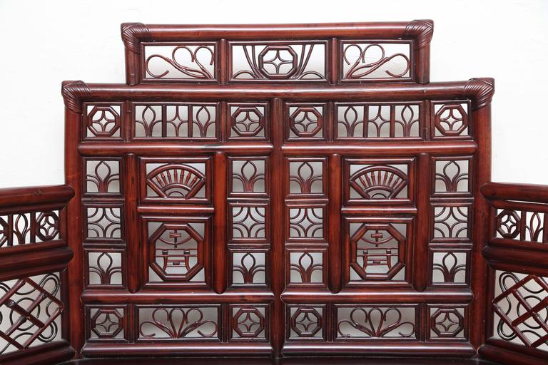 20th Century Vintage Rattan Pagoda Style Settee For Sale