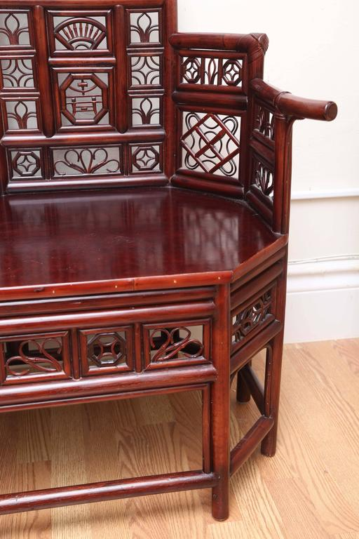 Vintage Rattan Pagoda Style Settee For Sale 2