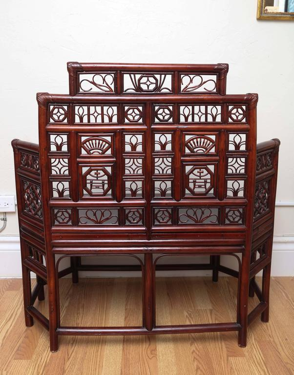 Vintage Rattan Pagoda Style Settee For Sale 3