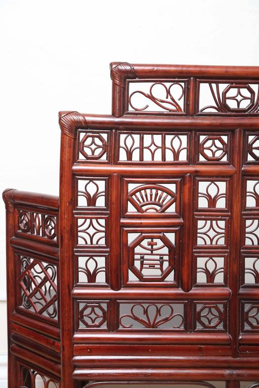 Vintage Rattan Pagoda Style Settee For Sale 4