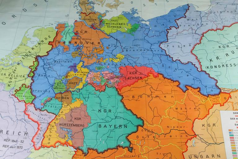 German Historical Map in Full Color Spanning, 1815-1918 For Sale at ...
