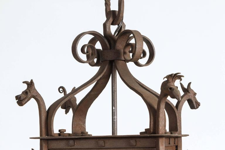 1920s Hand Wrought Gothic Lantern With Four Dragon Heads