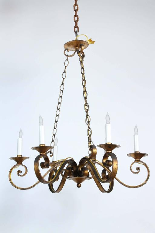 S six arm golden wrought iron chandelier with canopy
