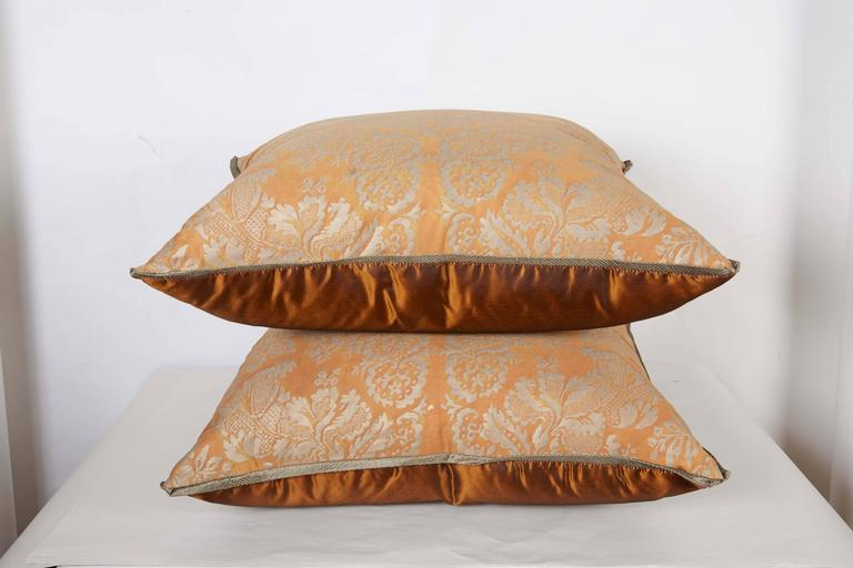A Pair of Fortuny Fabric Cushions in the Solimena Pattern 2