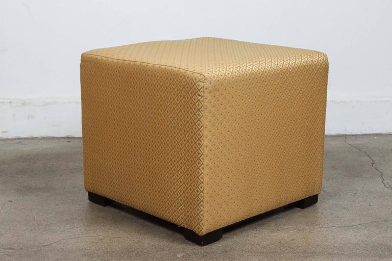 Pair Of Gold Cube Upholstered Ottomans Poufs For Sale At