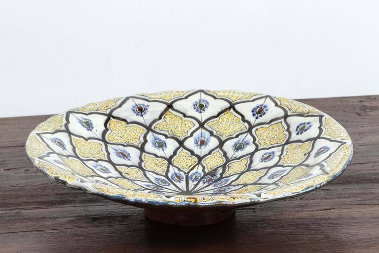 Hand-Crafted Handcrafted Moroccan Ceramic Bowl Charger For Sale