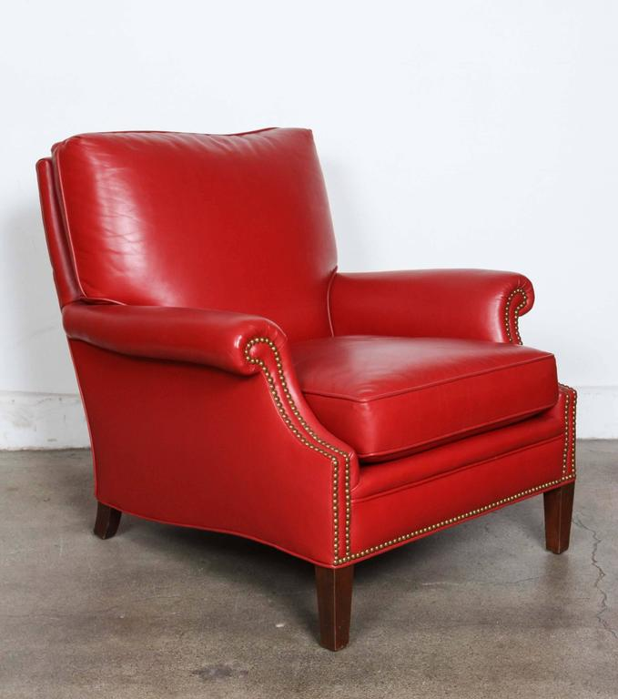 Unique Great Looking Pair Of Leather Club Lounge Chairs. In A Deep Moroccan  Red Leather