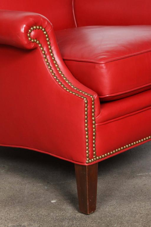 Modern Pair of Red French Club Leather Lounge Armchairs For Sale