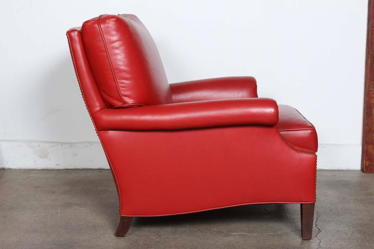 Hand-Crafted Pair of Red French Club Leather Lounge Armchairs For Sale