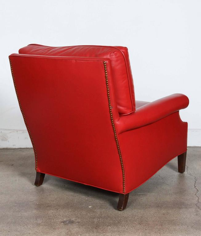 20th Century Pair of Red French Club Leather Lounge Armchairs For Sale