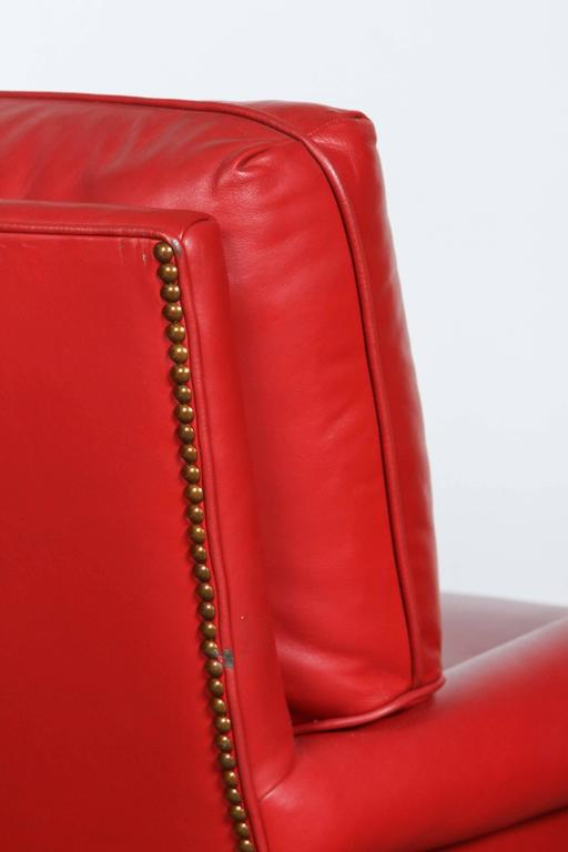 Pair of Red French Club Leather Lounge Armchairs For Sale 1