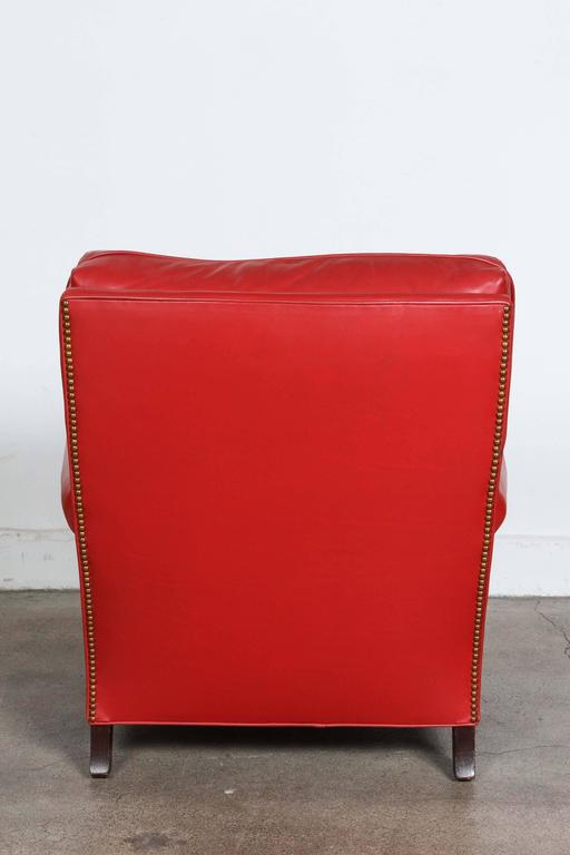 Pair of Red French Club Leather Lounge Armchairs For Sale 2