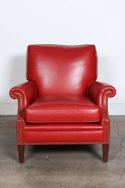 Pair of Red French Club Leather Lounge Armchairs For Sale 3